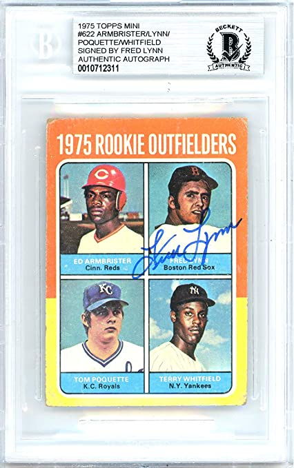 4f15e84c70a Fred Lynn Autographed 1975 Topps Mini Rookie Card Autographed  622 Boston  Red Sox - Beckett