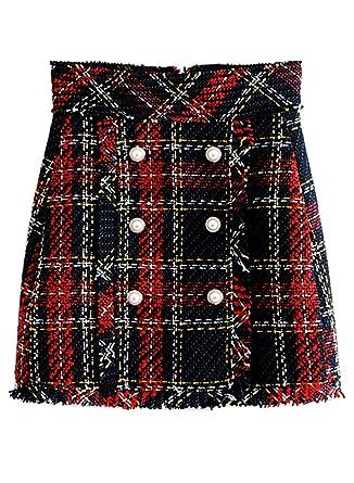 62b9276e6f4a Futurino Women's High Waist Grid Pattern Plaid Slim Bodycon Mini Skirt with  Button at Amazon Women's Clothing store: