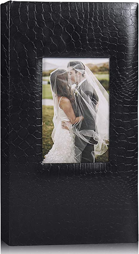 Amazon Com Recutms 4x6 Photo Albums 300 Photos Book Crocodile Pattern Leather Cover Recording Slot 300 Pockets Family Photo Album Wedding Picture Albums Holiday Albums Black Home Kitchen