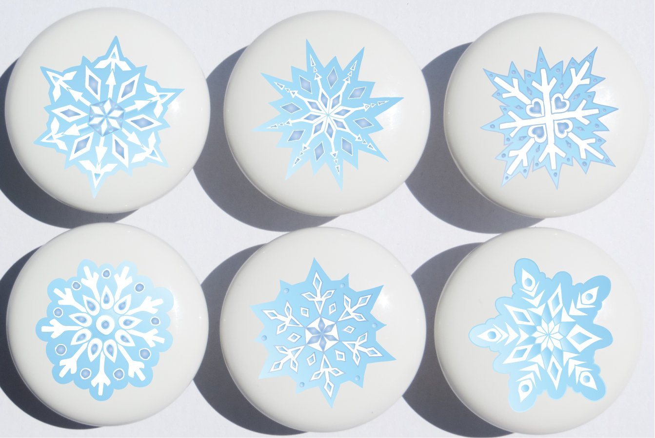Blue Snow Flakes Ceramic Drawer Knobs / Snowflake Handle Pulls, Set of 6