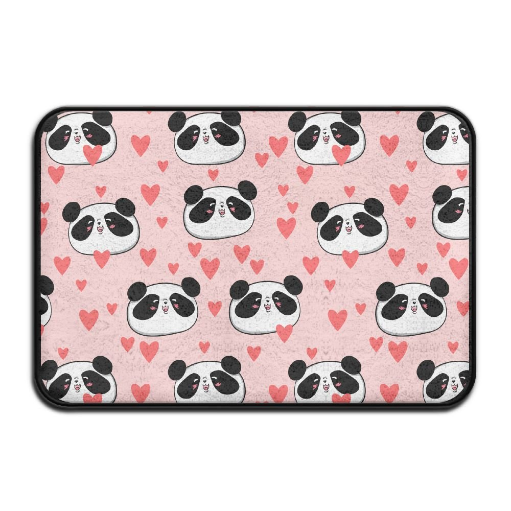 HOMESTORES Pink Animal Panda Love Heart Patterns Bath Mat - Memory Foam Shower Spa Rug Bathroom Kitchen Floor Carpet Home Decor With Non Slip Backing17x24 Inch
