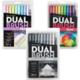 Tombow Dual Brush Pen Set of 10 Grayscale 10 Bright and 10 Pastel (30 Count Total)