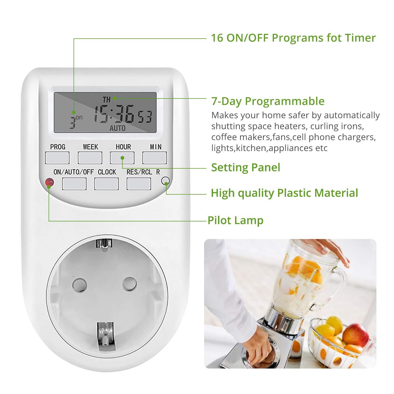... W Semanal Digital Timer Ahorrar Energía y Dinero para Cocina, Electrodomésticos, Luz Acuario, Calentador de Agua: Amazon.es: Bricolaje y herramientas