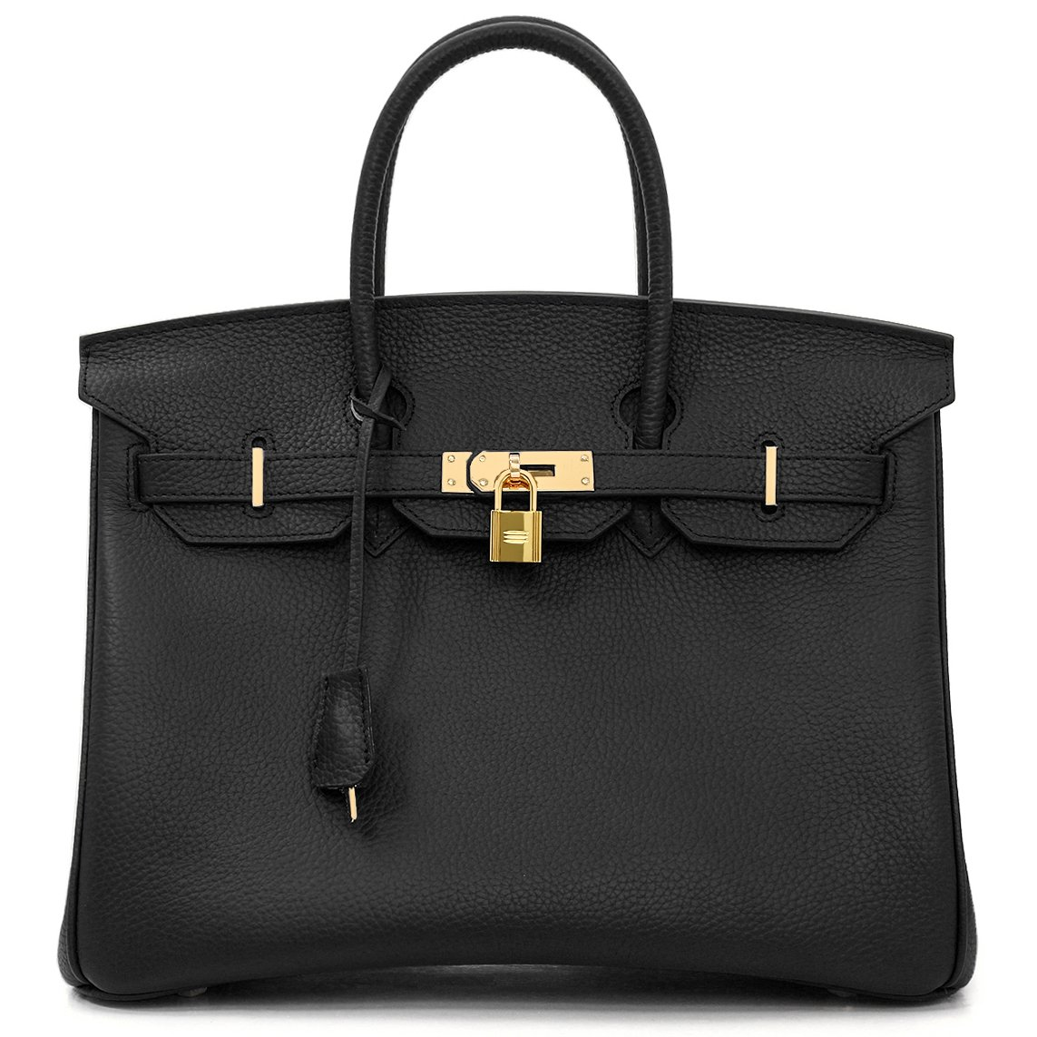 Macton European and American Classic Padlock Genuine Leather Top Handle Handbags Mc-1329 (11.8'', Black)