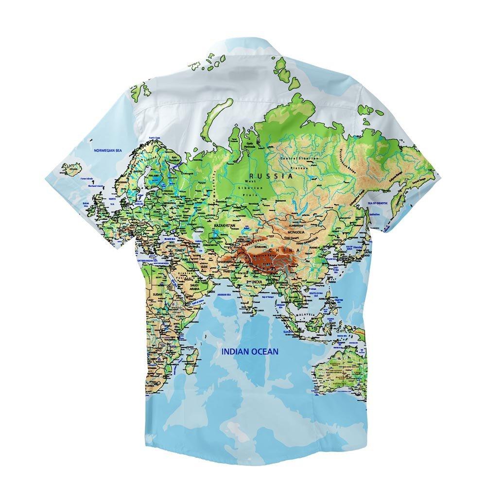 World Map Button Down Shirt.Shelfies World Map Short Sleeve Button Down Shirt Amazon Co Uk