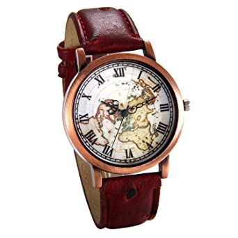 Buy jewelrywe red leather watch world map watches vintage map jewelrywe red leather watch world map watches vintage map wristwatch birthday gift gumiabroncs Images