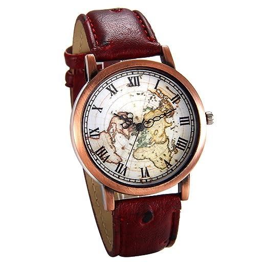 JewelryWe Reloj de Pulsera Retro Vintage Dial Mapamundi, Correa de Cuero Cuarzo Analógico Para Mujer Hombre, Bronce Reloj Original Para Navidad/San Valentin ...
