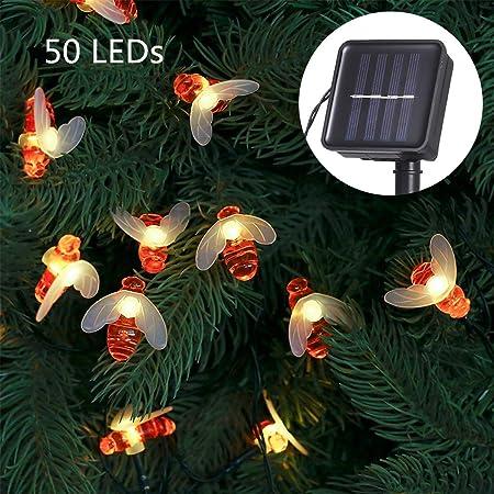 Guirnalda Luces Exterior Solar,Tomshine 50 LEDs 6.9m Cadena de Luces de Abeja LED Decorativas,IP44 Impermeable,8 Modos de Iluminación,Guirnaldas Luminosas para Exterior,Patio,Jardines(Blanco Cálido): Amazon.es: Iluminación
