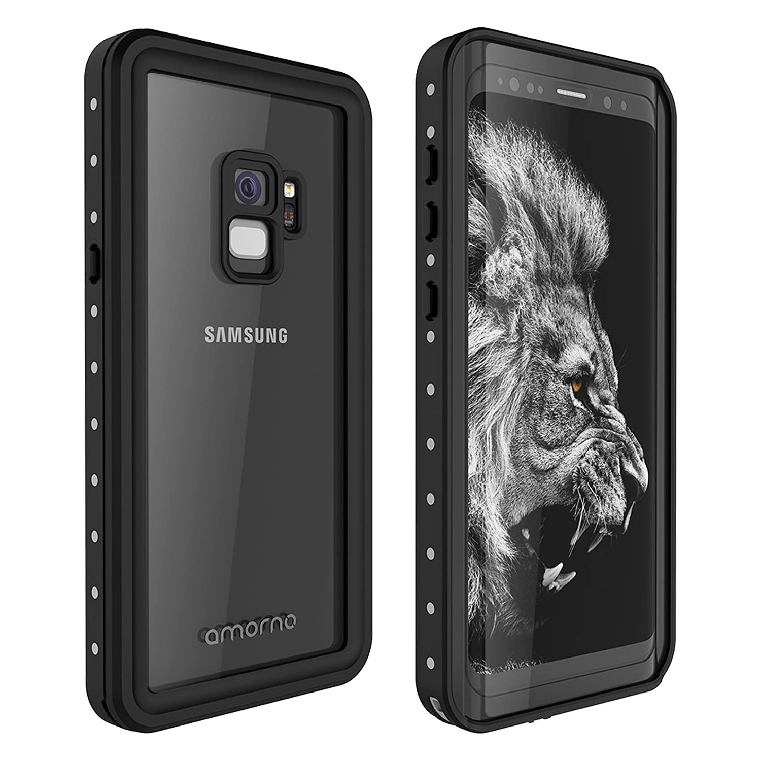 finest selection c86bd 33283 Galaxy S9 Waterproof Case, AMORNO Waterproof Shockproof Dustproof Dirtproof  Full Body Case Built in Screen Protector with Touch ID for Samsung Galaxy  ...
