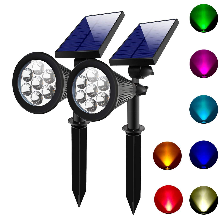 Lepord 2 Sets 7 LED Solar Spotlights Outdoor Solar Lights Waterproof Color Spot Lights for Garden Landscape Spotlights Dark Sensing Auto On/Off Solar Up Lights for Yard Patio Lawn