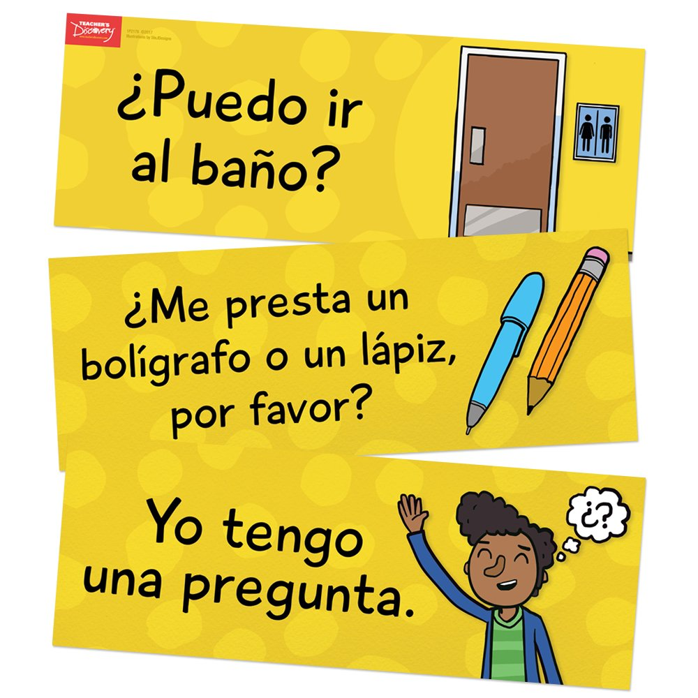 Amazon.com : Classroom Phrases Spanish Signs - Set of 12 : Office Products