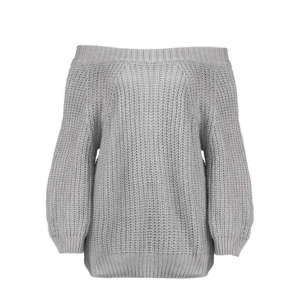 Kumike Fashion Women Fashion Solid Long Sleeve Top Knitted Slash Neck Sweater Strapless Blouse