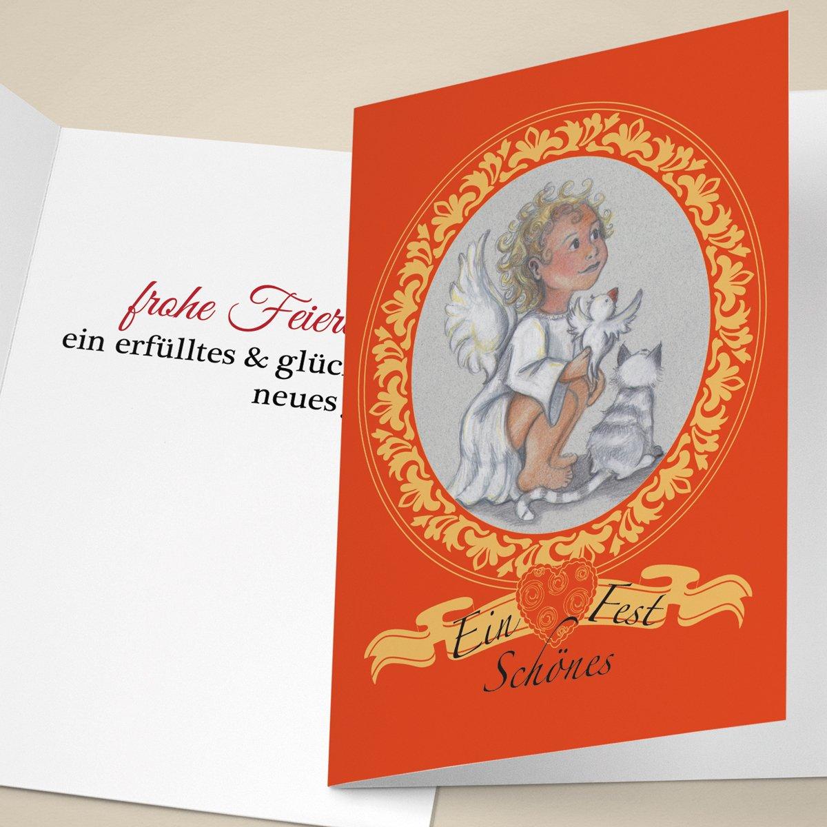 20er Set Niedliche Unternehmen Weihnachtskarten mit Engel in Medaillon, mit ihrem Innentext (Var6) drucken lassen, als geschäftliche Weihnachtsgrüße   Neujahrskarte   Firmen Weihnachtskarte für Kunden, Geschäftspartner, Mitarbeit