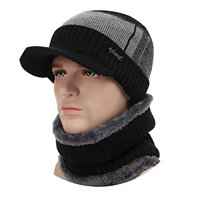 2018 Winter Hats for Men Skullies Beanie Hat Winter Cap Men Women Wool  Scarf Caps Set 5ef1585fde1