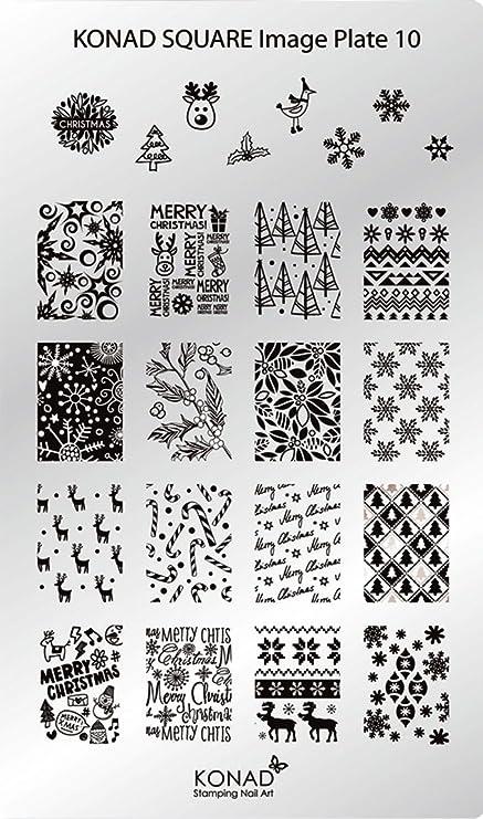 c10 Placa de Diseños Rectangular Konad Original. Plantilla para uñas Square Image Plate Konad España.: Amazon.es: Belleza