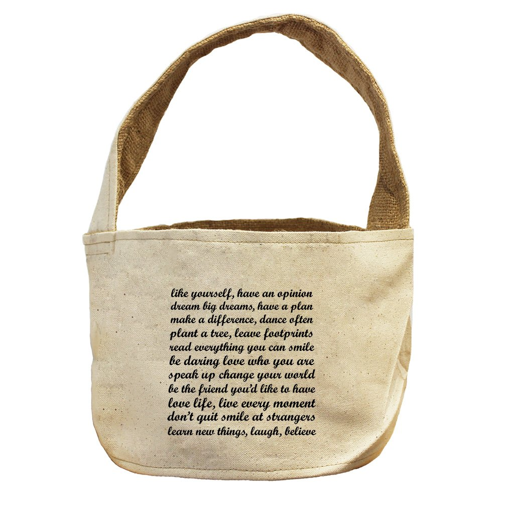 Style in Print Make A Difference Dance Often Tree Leave Canvas and Burlap Storage Basket