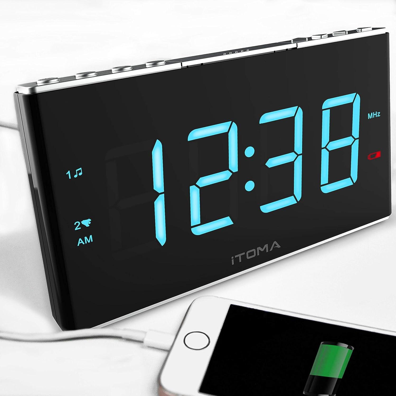 iTOMA Despertador de Radio con la Radio de Digitaces FM, Alarma Dual, Ajuste Auto del Tiempo, Puerto de la Carga del USB, Entrada Auxiliar, batería de Reserva (CKS703)