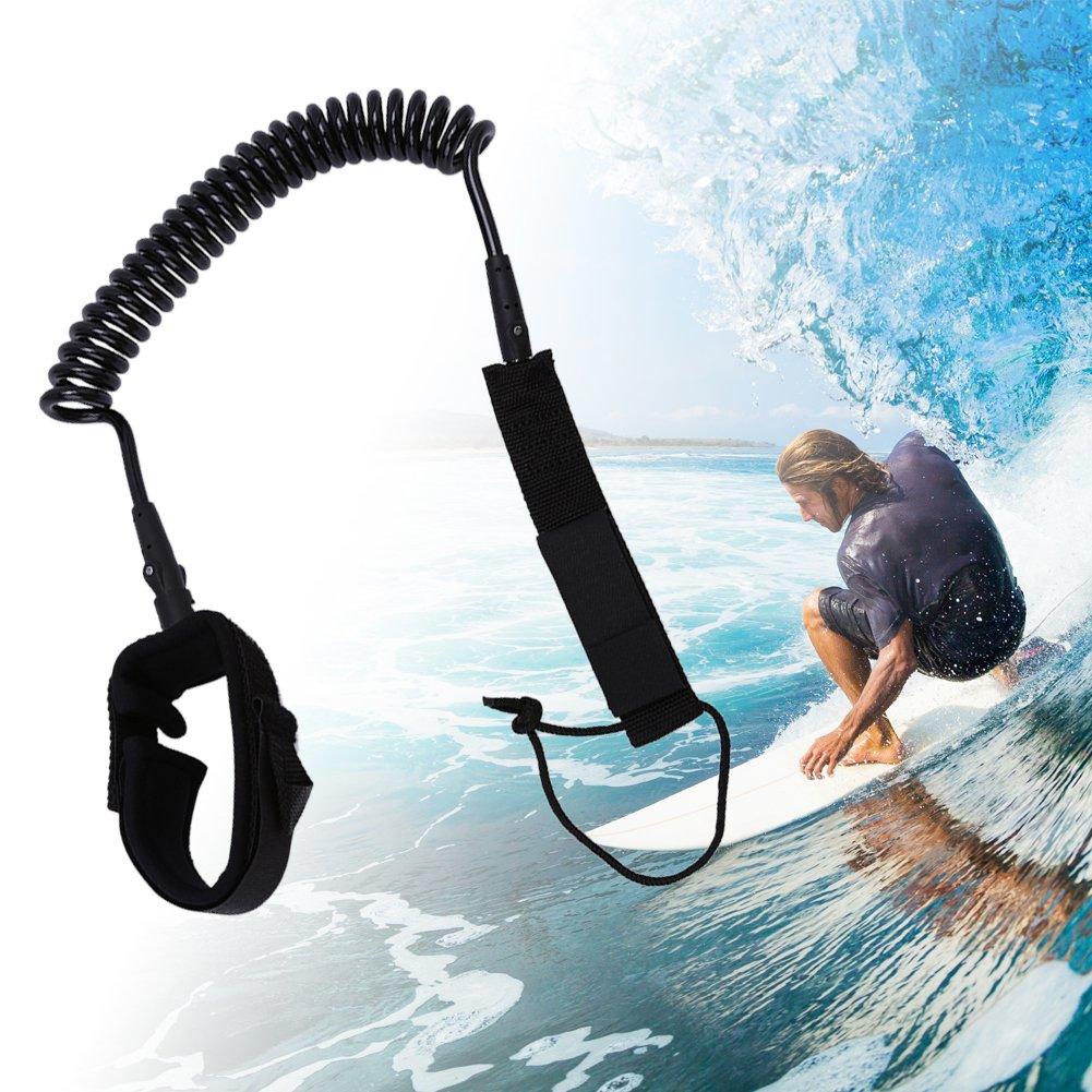 VGEBY SUP Guinzaglio, Leash Surfing Guinzaglio Stand Up Paddle Guinzaglio 7mm Caviglia Corda Avvolta (Nero)