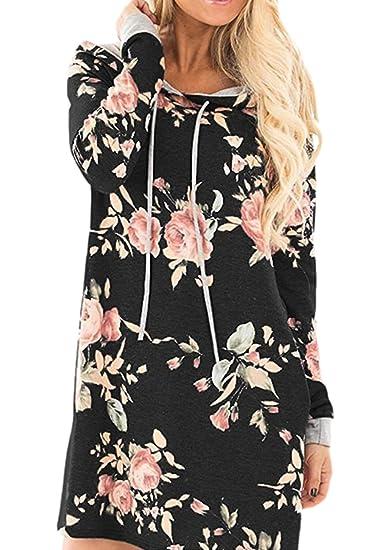 8a2dfe7be0a Women Winter Casual Kimono Floral Print Hooded Sweatshirt Minoi Dress with  Pockets Black S