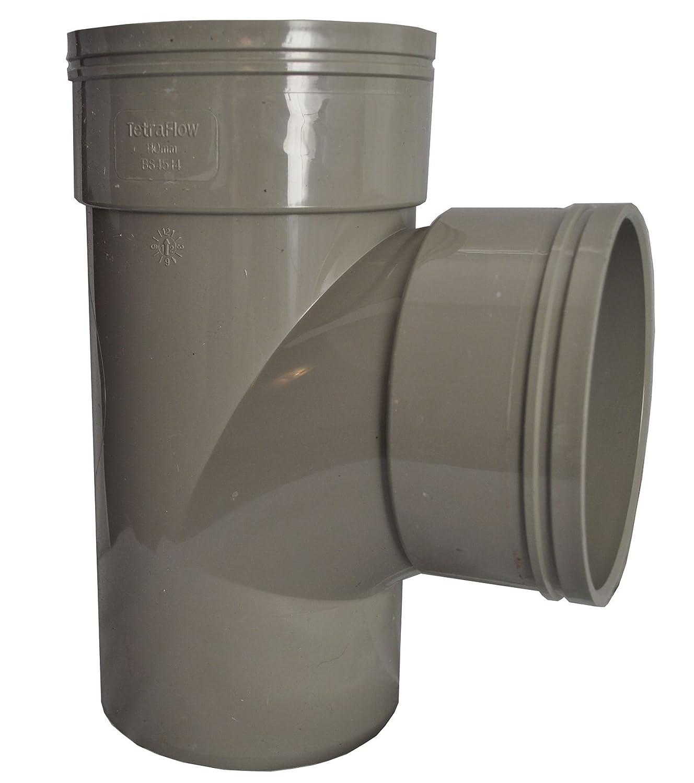 Double Socket Solvent Soil Pipe 90 Degree Tee - Grey - Pack of 2 MSL