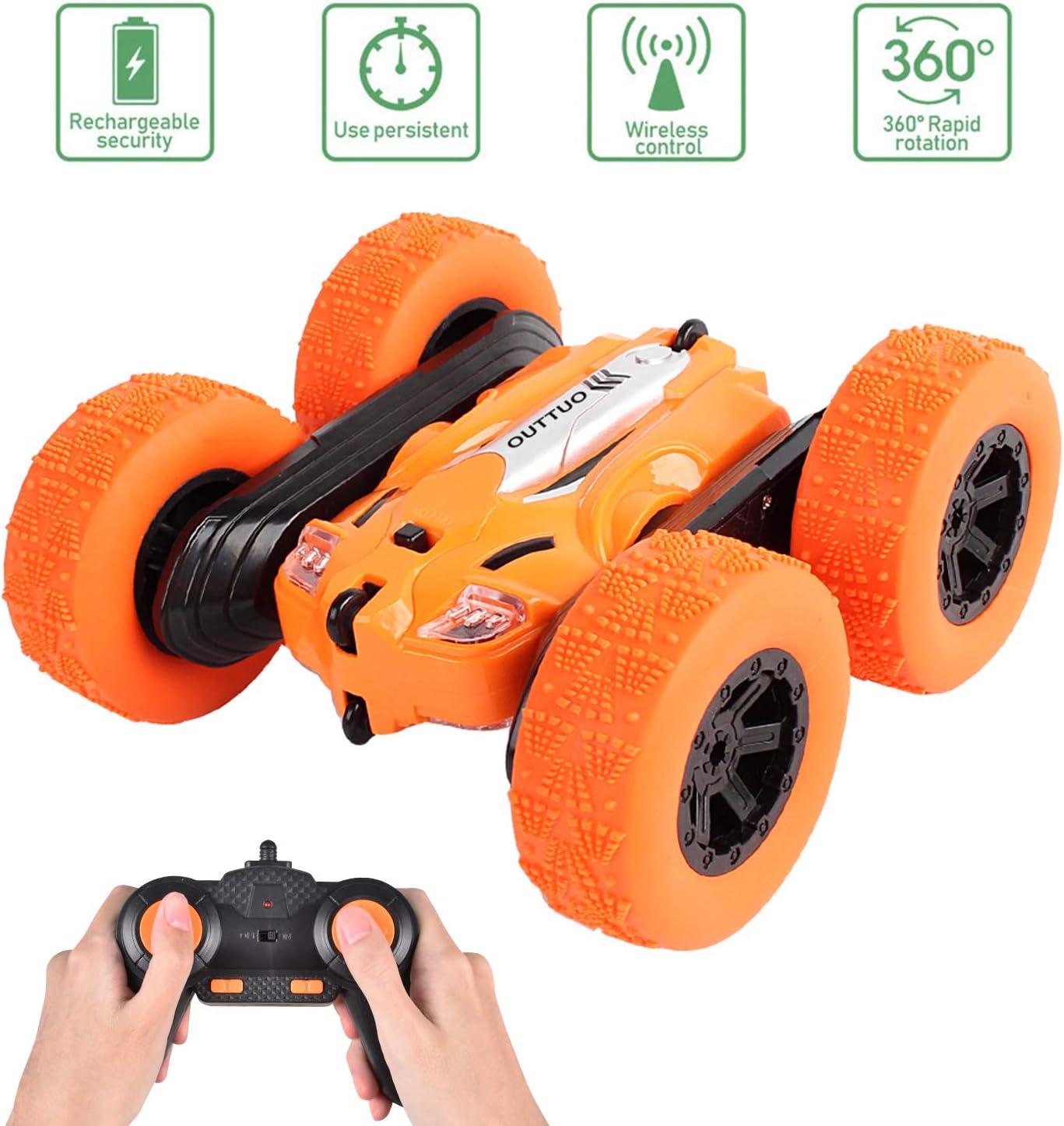 OUTTUO 1:28 Coche Teledirigido, 2.4GHz Stunt RC Car, Doble Lado Rotación de 360 Grados de Alta Velocidad, Juguetes para Niños(Naranja)