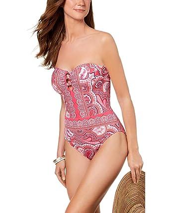 a55cc79a96e LAUREN RALPH LAUREN Women s Aegean Paisley Bandeau One-Piece at Amazon  Women s Clothing store