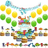 Dinosaur Party Supplies - 36 Boys Birthday Party Decorations Pack, Includes a Happy Birthday Banner, 12 High Quality Latex Balloons, a Birthday Cake Topper, 22 Cupcake Toppers, Great for Kids Dinosaur Birthday Party