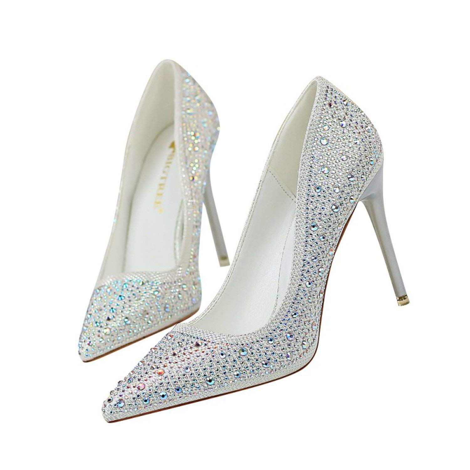 White coolemon 2019 Spring Wedding Party Women Pumps shoes Woman High Heels Female Crystal Bling Nightclub Stilettos Pointed Toe shoes