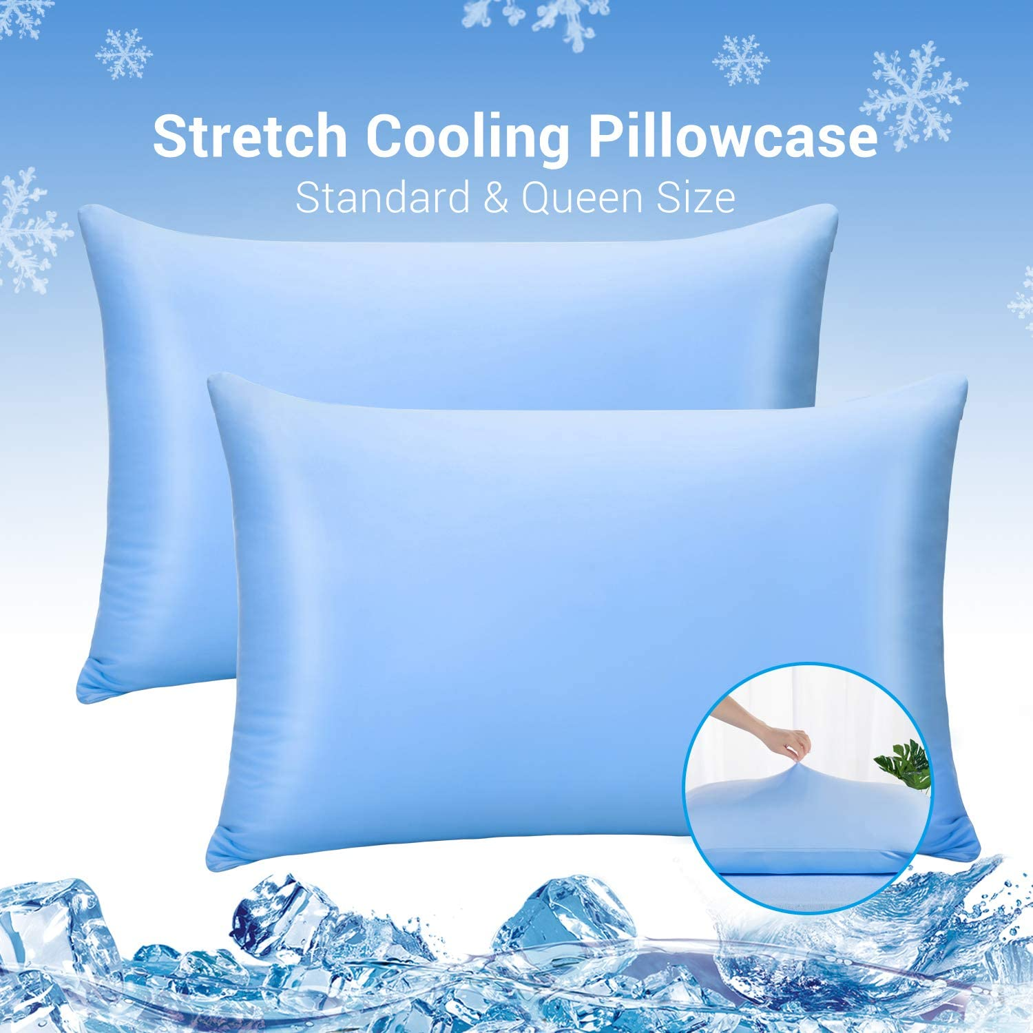 LUXEAR Pillowcases, 2 Pack Elastic Cooling Pillowcases Fit Standard & Queen Size Pillows with Japanese Cooling Fiber, Ultra-Elasticity & Cooling, Anti-Static Perfect for Hair/Skin, Night Sweat