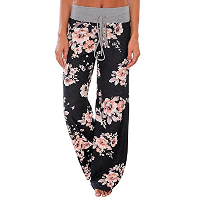 Elsofer Women's Pajama Lounge Pants Floral Print Comfy Casual Stretch Palazzo Drawstring Pj Bottoms Pants Wide Leg at Women's Clothing store