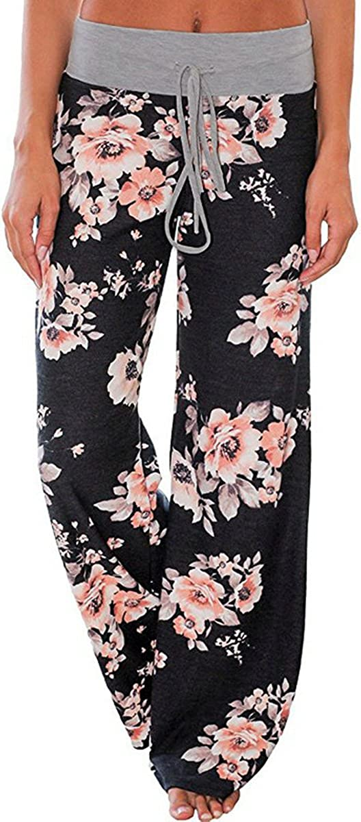 Elsofer Women's Pajama Lounge Pants Floral Print Comfy Casual Stretch Palazzo Drawstring Pj Bottoms Pants Wide Leg