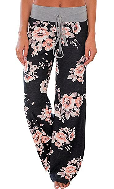 d9020b237ec9 Elsofer Women s Pajama Lounge Pants Floral Print Comfy Casual Stretch  Palazzo Drawstring Pj Bottoms Pants Wide