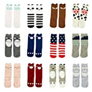 Gellwhu 12 Pairs Baby Girls Boys Cartoon Knee High Stockings Tube Socks 0-5Y (0-1 Year, 12 Pairs Set A)