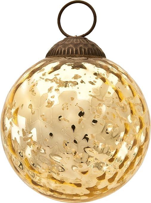 Amazon Com Gold Diamond Mercury Glass Christmas Ornaments