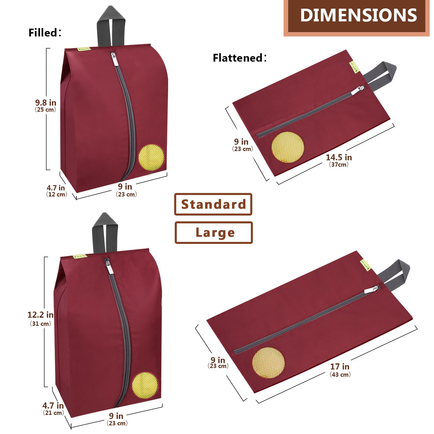 Travel Shoes Bags 4 Pieces Pack – Cheaper Best - Waterproof Durable Versatile Organizers Sleeves Tough Zipper with Fluorescent Mesh Reinforced See-Through Window (Burgundy) by Cheaper Best (Image #2)