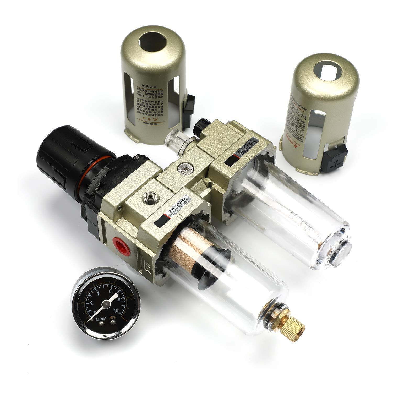 Wasserabscheider Druckminderer Druckluftregler f/ür Druckluftkompressor Filter 3//8 Zoll mit Metallschild