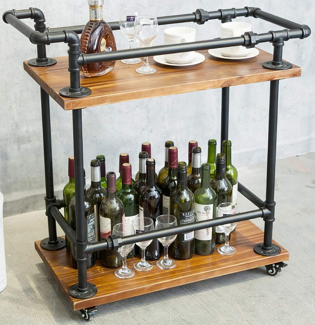 DOFURNILIM Wine Rack Cart/Serving Cart on Wheels with Storage for Kitchen Bar Living Room - 2 Tiers Wine Tea Beer Shelves/Holder - Solid Wood and Metal Pipe (2-Tier) by DOFURNILIM
