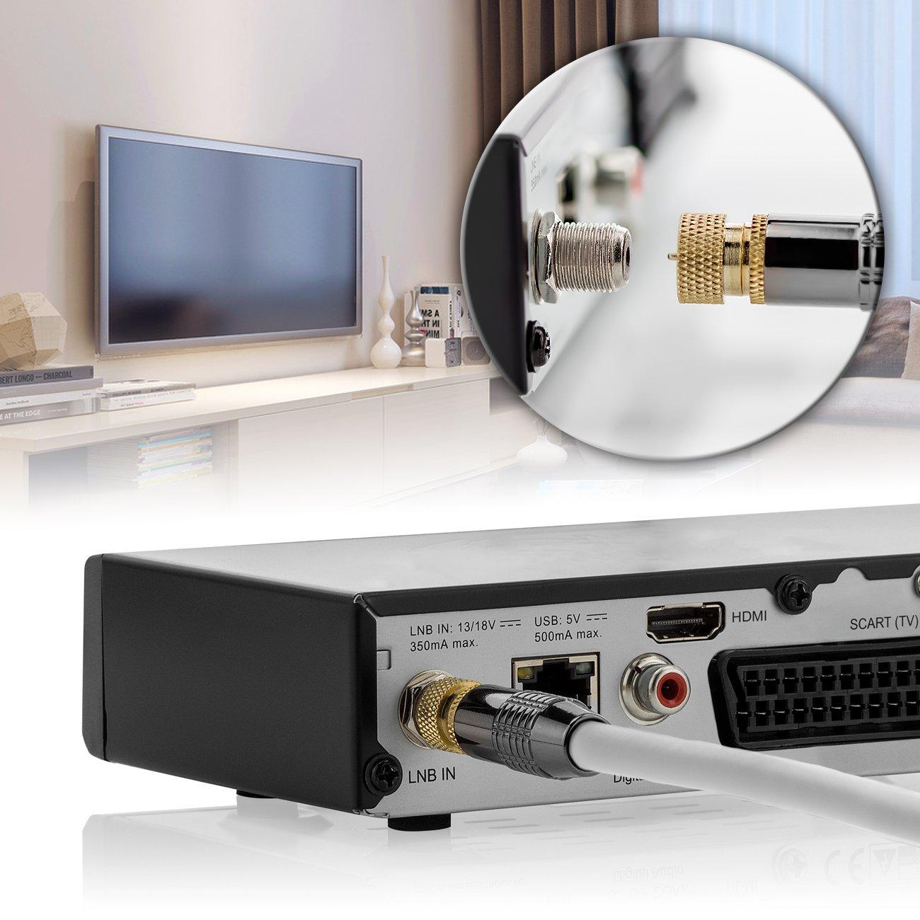 Nero deleyCON 7,5m SAT Cavo Antenna Cavo Satellitare HD Coassiale per DVB-S//S2 HDTV 4K Ultra HD 1080p Full HD 2x Connettore F Tappo in Metallo Placcato Oro