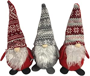 Christmas House Decor Holiday Gnomes, 14 inches (Set of 3)