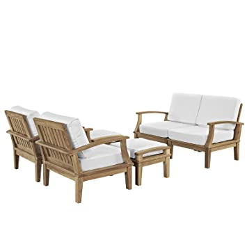 Tremendous Modway Eei 1597 Nat Whi Set Marina Premium Grade A Teak Wood 6 Piece Outdoor Patio Furniture Set Sectional Loveseat Two Armchairs Ottomans Natural Pdpeps Interior Chair Design Pdpepsorg