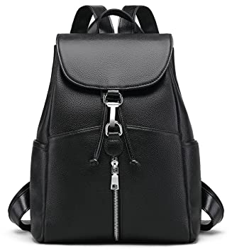 ae685c750554 New Women Real Genuine Leather Backpack Purse vintage SchoolBag by Coolcy ( Black)
