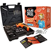 My First Power Drill Set - Real Cordless Drill for Boys and Girls - Lightweight, LED Light, Child Size Kit, Carrying…