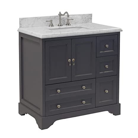 Madison 36-inch Bathroom Vanity (Carrara/Charcoal Gray): Includes Italian  Carrara Marble Top, Charcoal Gray Cabinet with Soft Close Drawers & Doors,