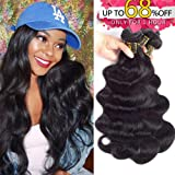 QTHAIR 10A Grade Virgin Brazilian Body Wave Hair 3 Bundles (12 12 12 inch, Natural Black) 100% Unprocessed Body Wave Brazilian Human Hair Weave Extensions