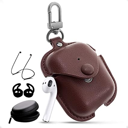 premium selection da2dc 2b8a5 Airpods Leather Case with Strap Kit and Keychain Accessories, Houbox Full  Protective Airpod Case Cover for Birthday Compatible Apple Airpods Charging  ...