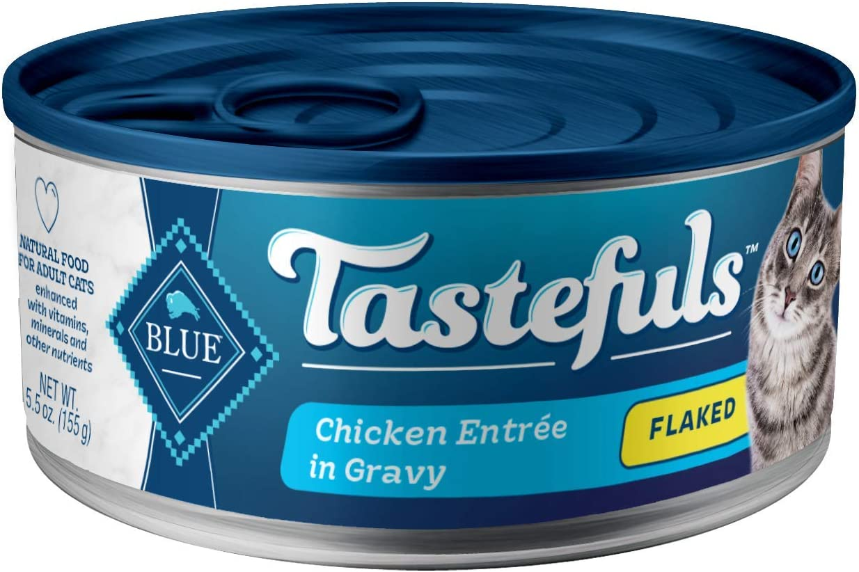 Blue Buffalo Tastefuls Natural Flaked Wet Cat Food, Chicken Entrée in Gravy 5.5-oz cans (Pack of 24)
