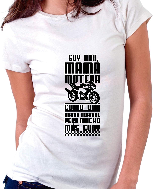 Custom Vinyl Camiseta Dia de la Madre Soy una mam/á Motera Negra, L - Normal