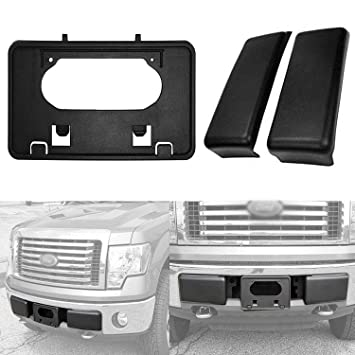 LICENSE PLATE BRACKET For 2009-2014 FORD F150 FRONT BUMPER GUARDS PADS CAPS