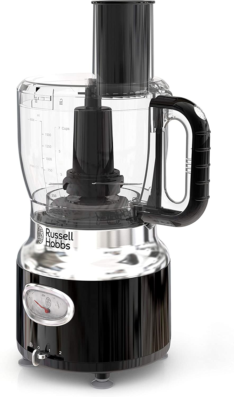 Russell Hobbs FP3100BKR Retro Style Food Processor, 8-Cup (64-oz) Capacity, Black (Renewed)