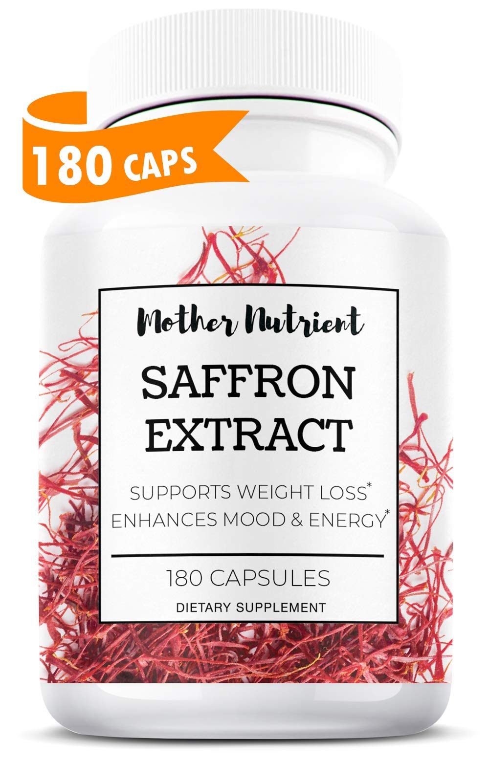 Saffron Supplement with 100% Pure Saffron Extract, Crocus Sativus. 180 Capsules. Natural Hunger Suppressant and Appetite Control, Eye Health, Mood Booster, and May Prevent Macular Degeneration